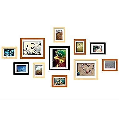 WOOD MEETS COLOR Picture Frames Gallery With Real Glass, Including White Photo Mats and Paper Wall Template, SET of 11 Collage Frames (Original & Walnut & Black)