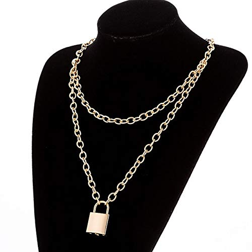 chenyou Pendant Multilayer Lock Chain Necklace Punk Padlock Key Pendant Necklace Women Girl Fashion Gothic Party necklace (Metal Color : L007 Gold with Key)