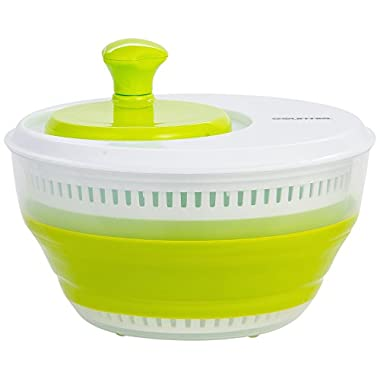 Gourmia GMS9100 Collapsible Salad Spinner Manual Veggie & Lettuce Dryer With Crank Handle & Folding Design Extra Large Capacity, Durable BPA free food safe material