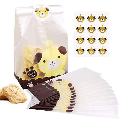 BBLIKE Treat Candy Cookie Party Favor Bags, Candy Cookie Chocolate Bags 100PCS Lovely Party Favor Bags with 109Pcs Cute Dog Stickers for Childs Bakery Cookies Candies Dessert, Gift and Buffet Supplies