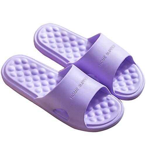 DFFH Zapatillas de masaje, masajeador de pies, zapatos de ducha, sandalias Shiatsu, relajadas, alivian el estrés plantar, morado, S