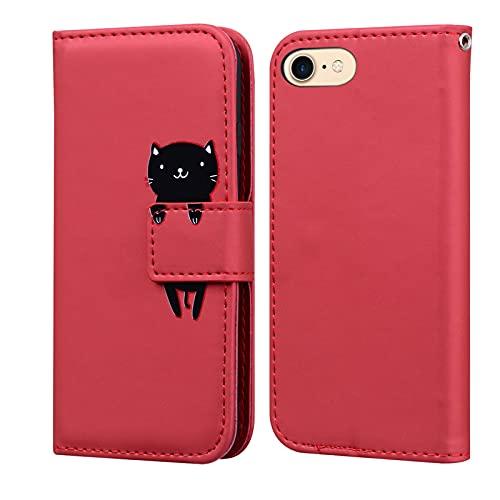 Custodia iPhone SE 2020, LUCASI iPhone 7/8 Simpatico Cartone Animato Cover in Pelle, Supporto Stand, con Magnetica a Scatto, Flip Wallet Case, per iPhone 7/iPhone 8/SE 2020, Rosso