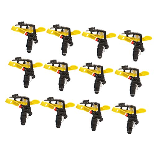LOVIVER 12 Pieces Heavy Duty Plastic Impact Head Sprinkler, 25-360 Degree Rotating Range - 1/2inch
