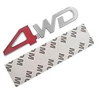 カーテールリアサイドメタル4x4 RCカー4WDステッカー3Dクロームバッジカーエンブレムバッジデカールオートデコレーションスタイリング4WDレッドSUVトランク用
