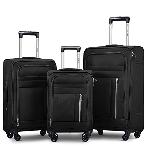 Merax Spinner Soft Shell Luggage Super Lightweight Suitcases 4 Wheels(20/24/28/SET of 3) (Set of 3, Black)