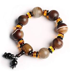 Deykhang Fengshui Schutz tibetischen Dzi Perlen Lace Agate Sardonyx Frost-Finish Reichtum buddhistischer Armband für Männer 18mm Amulett Talisman Armband Attract Fortune-Geld Good Luck