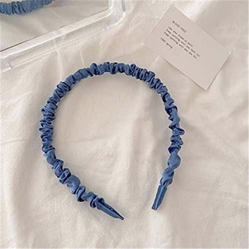 jiarun Spring Sweet - Diadema de tela plisada de seda de imitación de satén para niña, vacaciones, accesorios para el cabello, regalos (color metálico: 3)