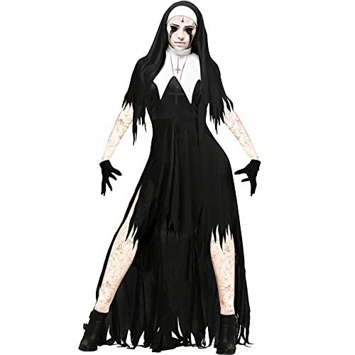 PEKLOKIW Disfraz de Halloween para mujer, disfraz de fiesta terrorfico, disfraz de monja de infierno, Negro , M