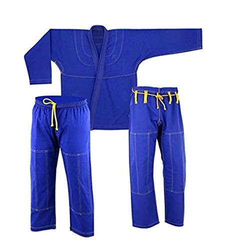 Ultra Light Brazilian Jiu Jitsu Adult Kids Essential IBJJF BJJ Gi W/Preshrunk Fabric & Free White Belt in Jiu Jistu Gi Blue (A2)