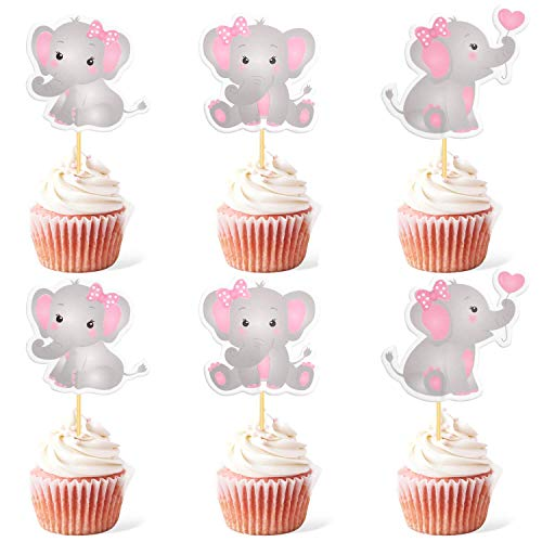 48pcs Pink Elephant Cupcake Toppers It Is A Girl Baby Shower Cupcake Picks Decoration Baby Girl Birthday Party Supplies