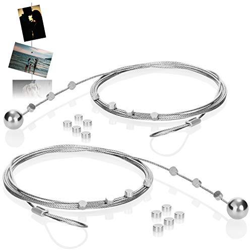 com-four® 2er-Set Fotodrahtseil mit 24 Magneten, Circa 190 cm x 1,2 mm, aus Metall - Fotodraht mit Magneten zum Aufhängen von Fotos (02 Stück)