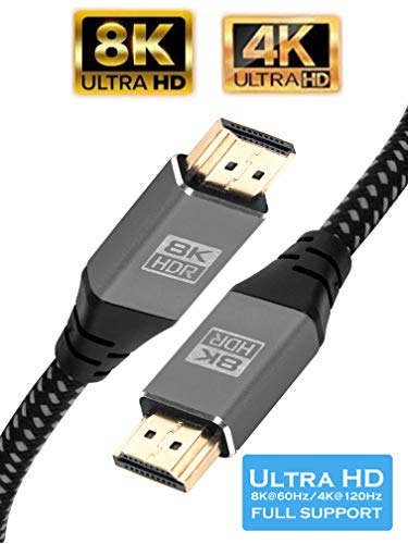 Cable IBRA 2.1 HDMI 8K Ultra Alta Velocidad 48Gbps de Plomo | Admite 8K@60HZ, 4K@120HZ, 4320p, Compatible con Fire TV, Soporte 3D, Función Ethernet, 8K UHD, 3D-Xbox Playstation PS3 PS4 PC - 2M