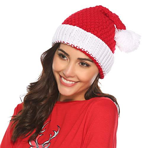 Pollara Damen/Herren Weihnachtsmütze Wintermütze Rot Strickmütze Nikolausmütze Bommel