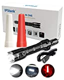 IPStank Tactical Flashlight, Rechargeable High Lumens Multifunctional Flashlights, Included USB Charge, Warning Function, Aluminum Flash Light for Outdoor, Camping, Hiking, Hunting (Black)
