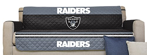 Pegasus Sports NFL Oakland Raiders Furniture Protector with Elastic Straps, Sofa, Black