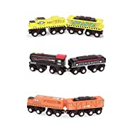 All aboard these detailed and collectable retro-style wooden toy trains for children Bold colours and designs: including yellow, orange, and black engines & freight cars Cars connect by magnets. Link them all and create one long rolling vehicle to pu...