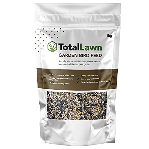 Quality Wild Bird Seed Mix | Black Sunflower Seeds - No Grow | Nutritious Natural and Healthy Feed Mixture - Ideal For Small And Large Birds. 1KG By Total Lawn