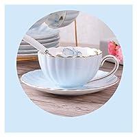 イギリス風の高級骨中国コーヒーカップ牧歌的なアフタヌーンティーセラミックコンテナティーカップの皿スプーンカボチャカップピンクロマンチック (Color : 1pcs b)