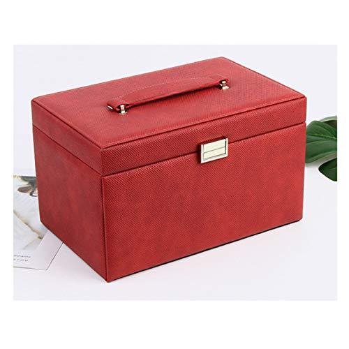 ZHANG Caja cosmética de cuero de las mujeres con el cajón, caja de joyería, espejo cosmético con caja de almacenamiento del viaje del espejo, rojo
