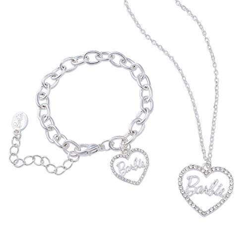 Barbie Crystal Heart Necklace & Bracelet Set