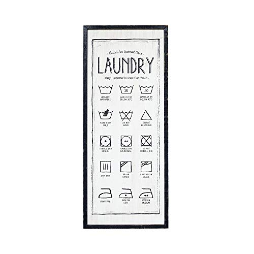 NIKKY HOME 13 x 31 Wood Laundry Symbol Guide Wall Sign Plaque for Laundry Room Decor