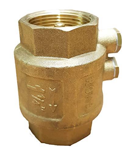 Rückschlagventil 1,25 Zoll (41,7mm) mit doppelter Entlüftung - mit Messingklappe für Brunnen Saugschlauch Hauswasserwerk Schwengelpumpe Gartenpumpe -Qualität vom Fachmann ! … (1 1/4 Zoll (41,7mm))