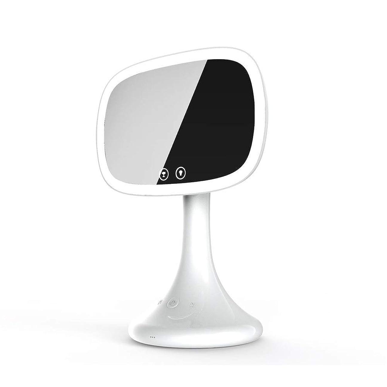 水差しヘア満足化粧鏡 Ledブルートゥース化粧虚栄心ミラー10倍拡大鏡タッチスクリーン調整可能な調光対応カウンタートップ化粧鏡テーブルランプ (色 : 白, サイズ : ワンサイズ)