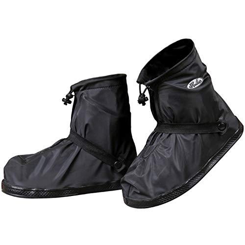 JIANKE Regenüberschuhe Fahrrad Wasserdicht Überschuhe Regen Schuhüberzieher Mehrweg Rutschfest Motorrad Regenschutz Schuhe (Schwarz-392,L)