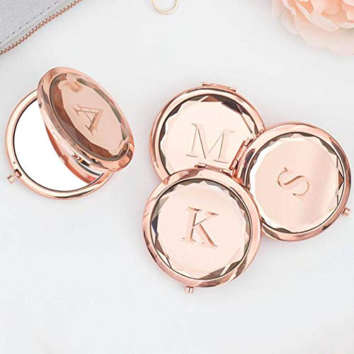 Personalized Bride Tribe Compact Mirrors Rose Gold Crystal Compact Makeup Mirrors Bridal Party Bridesmaid Gifts (Rose Gold)