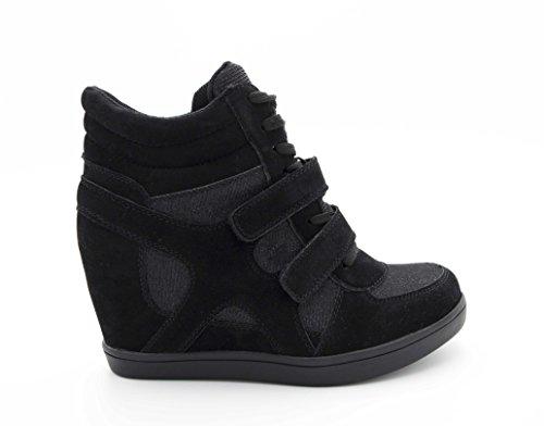 Baskets Compensées Femmes – Sneakers Tennis Casuel Montantes - Chaussure Talon Haut – Bi-matière Daim Scintillante Brillant - Scratch Lacet Suédine, Noir, 38 EU