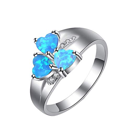 Purmy Silber Ring 925 Blauer Opal Damen Ringe DREI Herzen,Minimalistischer Schmuck Jubiläumsgeschenke Hochzeit Verlobung Ring Verlobung Größe 52 (16.6)