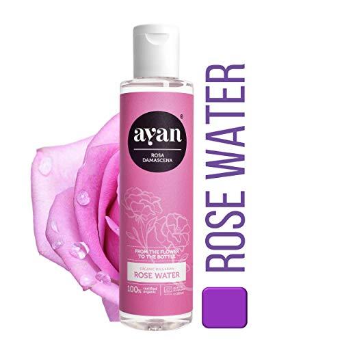 AYAN Naturkosmetik Rosenwasser Pur Zertifizierte Bio Qualität und Ohne Alkohol Gesichtswasser für reine und straffe Haut 200ml