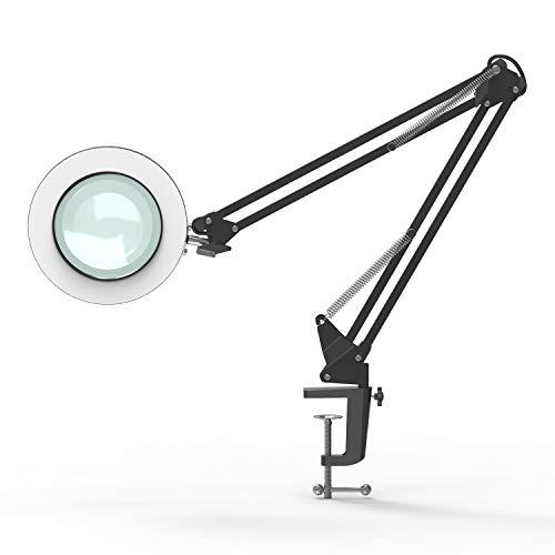 YOUKOYI LED Vergrößernde Lampe 5X Glas Metall Schwenkhebel Schreibtischlampe Stufenlos Verdunkelung 3 Farbmodi Blendfreie Speicherfunktion Gut zum Lesen/Büro/Arbeit,Schwarz