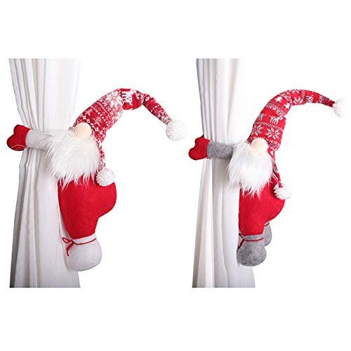 FGASAD 2 Stück Weihnachtsvorhangschnalle, nordischer gesichtsloser alter Mann umarmt Vorhänge Haken für Wohnzimmer Schlafzimmer Heimdekoration Raffhalter