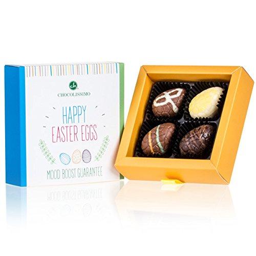 Happy Easter 4 Eggs - 4 gefüllte Schoko-Ostereier | Ostergeschenk | Ostern Schokolade | Schokoladeneier | Osterpralinen | Ostergeschenke für erwachsene | Frauen | Männer