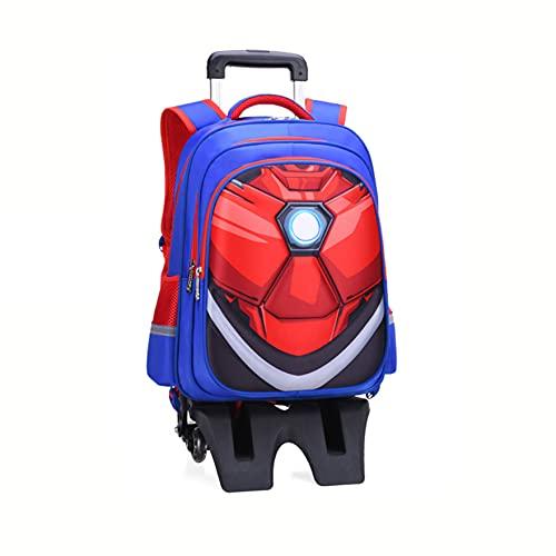 XNheadPS Borsa Viaggio per Ragazzi Spiderman Borsa Ragazze Trolley Zaino Impermeabile Zaino Bagagli Avengers Zaino Supereroi Picnic all'aperto Trolley a Studenti,Iron Man-Tall Feet Six Wheels