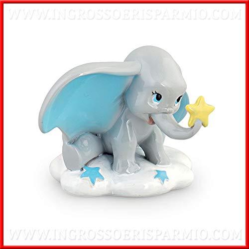 Ingrosso e Risparmio Piccola Statuetta in Resina Lucida a Forma di Dumbo con Orecchie celesti sulla Nuvola bomboniere Disney Nascita, Battesimo Bambino (Senza confezionamento)