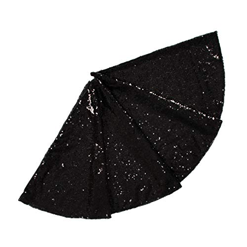 Sequin Tree Skirt 24Inch Christmas Tree Skirt Embroidered Sparkly Black Xmas Tree Ornament Christmas Decoration for Gift Ready to Ship -0913S