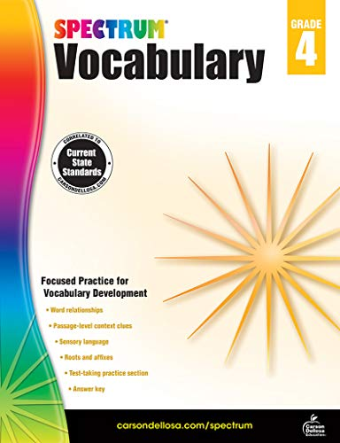 Spectrum Paperback Vocabulary Book, Grade 4, Ages 9-10