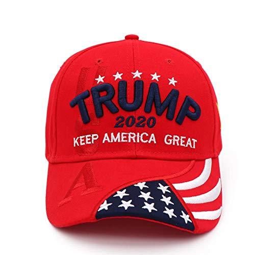 Sunnyushine Baseball Cap,Donald Trump 2020 Keep America Great Cap Verstellbare Baseballkappe Mit Gestickten Hüten Der USA-Flagge Für Frauen Männer