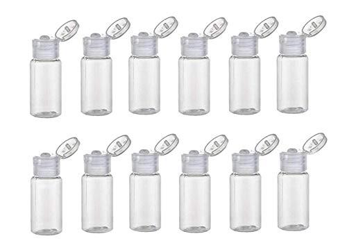 12 PCS 30ML 1 oz Bouteilles plastique voyage d'échantillon transparent avec couvercle rabattable Cosmétique Maquillage Récipient stockage l'eau Pot pour parfum Douche émulsion huile essentielle