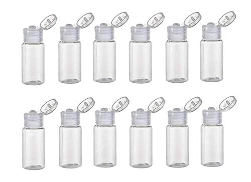 12Stück 30g Unzen 30ml klar leer Kunststoff Probe Flasche Container Jar begleitet mit Flip Deckel perfekt für Emollient Wasser Dusche Gel Emulsion etc.