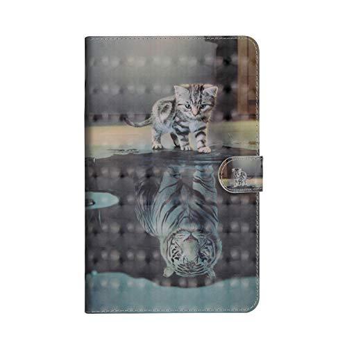 JAWSEU Huawei Mediapad M5 8.4 Zoll Hülle, Huawei Mediapad M5 8.4 Zoll Lederhülle - Smart Cover Tablet Hülle, Katzen Tiger 3D Muster PU Leder Flip Hülle Wallet Tasche Schutzhülle mit Ständer