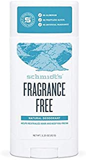 Schmidt's Deodorant - Fragrance-Free, Unscented, Aluminum-Free Odor Protection & Wetness Relief, 3.25 Ounce (Pack of 3)