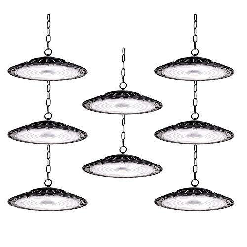 8 PCS 200W LED High Bay Light, 20000LM 6500K UFO UFO LED Shop Light, 5' Cable with 110V US Plug Commercial Lighting IP65 Lowbay Area Lighting Fixture for Garage Workshop Warehouse Factory (No Dim)