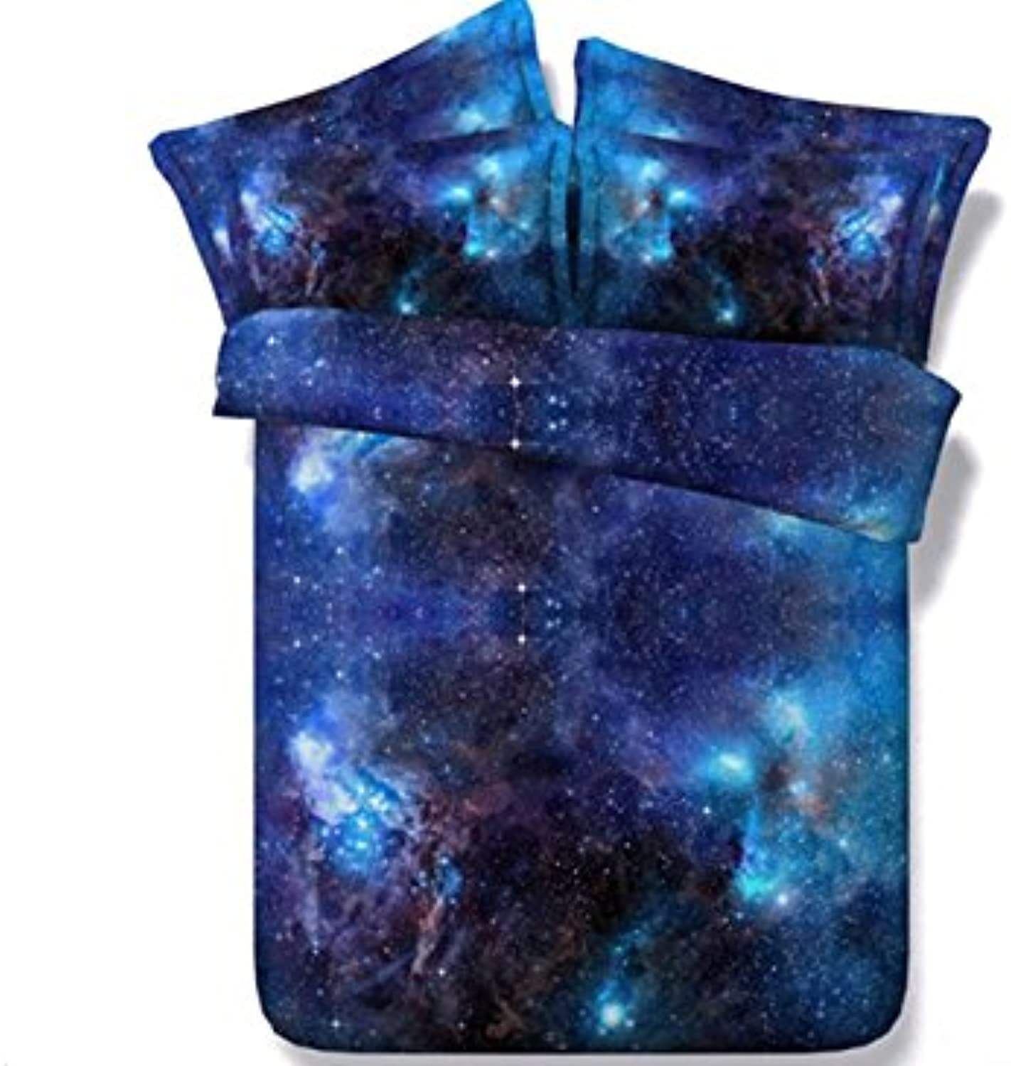 Ammybeddings Cool 3D Galaxy Bedding Sets Digital Print  King size Luxury Soft Stylish Home Decor Bedding 4 Piece bluee Duvet Cover with 2 Pillow Shams and 1 Sheet