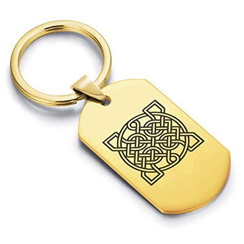 Comfort Zone Studios Stainless Steel Celtic Sailor's Knot Dog Tag Keychain Circle Ring, Gold
