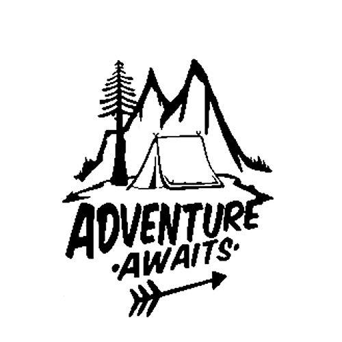 CHANGD Pegatinas de vinilo para coche con diseño de aventura de camping, 14,5 cm x 16,3 cm (color negro)