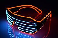 光る LED メガネ マルチカラー コスプレ仮装 カラオケやパーティやイベントに適用 光るアイテム衣装 電池ボックス付き パーティー 仮装 コンサート 発表会用小物 【オレンジ /ブルー】