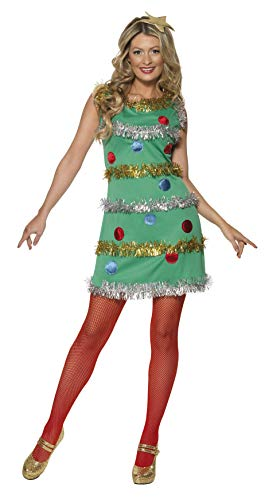 Smiffys, Damen Weihnachtsbaum Kostüm, Kleid und Haarband, Größe: S, 36992